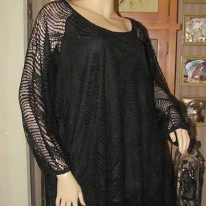 New Directions Black Crochet Lace Top 3X